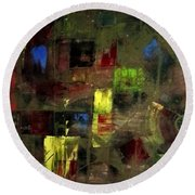 Abstract Patchwork Round Beach Towel