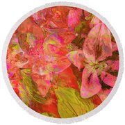 Abstract Pink Lilies Round Beach Towel