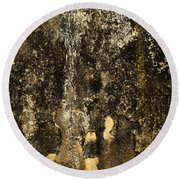 Abstract Scary Ocher Plaster Round Beach Towel