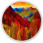 Abstract Scenic 3 Round Beach Towel