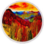 Abstract Scenic 3a Round Beach Towel