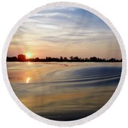 Abstract Sunset Round Beach Towel by James Peterson