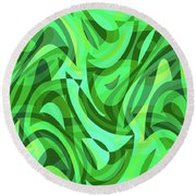 Abstract Waves Painting 0010075 Round Beach Towel