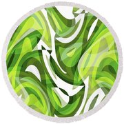 Abstract Waves Painting 0010081 Round Beach Towel