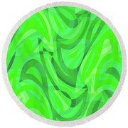 Abstract Waves Painting 0010082 Round Beach Towel