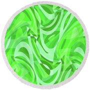 Abstract Waves Painting 0010086 Round Beach Towel