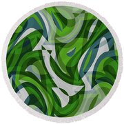 Abstract Waves Painting 0010087 Round Beach Towel