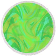 Abstract Waves Painting 0010089 Round Beach Towel