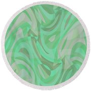 Abstract Waves Painting 0010092 Round Beach Towel