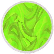 Abstract Waves Painting 0010093 Round Beach Towel