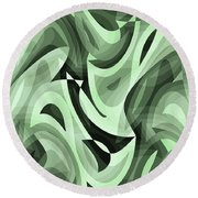 Abstract Waves Painting 0010095 Round Beach Towel
