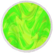 Abstract Waves Painting 0010099 Round Beach Towel