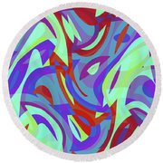 Abstract Waves Painting 0010102 Round Beach Towel