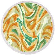 Abstract Waves Painting 0010105 Round Beach Towel