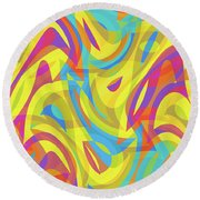 Abstract Waves Painting 0010109 Round Beach Towel