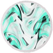 Abstract Waves Painting 0010111 Round Beach Towel