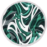 Abstract Waves Painting 0010112 Round Beach Towel