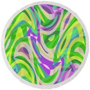Abstract Waves Painting 0010113 Round Beach Towel