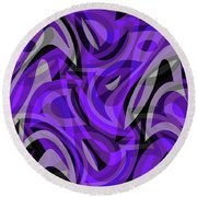 Abstract Waves Painting 0010115 Round Beach Towel