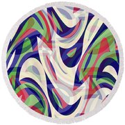 Abstract Waves Painting 0010118 Round Beach Towel