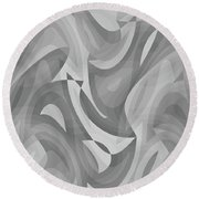 Abstract Waves Painting 0010119 Round Beach Towel