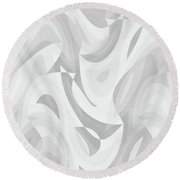 Abstract Waves Painting 0010120 Round Beach Towel