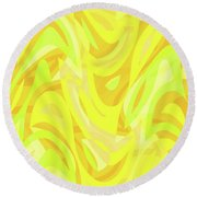 Abstract Waves Painting 0010121 Round Beach Towel