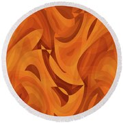 Abstract Waves Painting 001451 Round Beach Towel