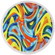 Abstract Waves Painting 007176 Round Beach Towel