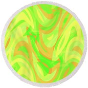 Abstract Waves Painting 007178 Round Beach Towel