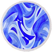 Abstract Waves Painting 007183 Round Beach Towel