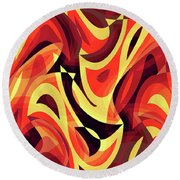 Abstract Waves Painting 007185 Round Beach Towel