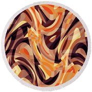 Abstract Waves Painting 007187 Round Beach Towel