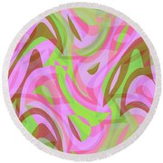 Abstract Waves Painting 007188 Round Beach Towel