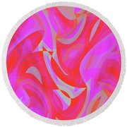 Abstract Waves Painting 007190 Round Beach Towel