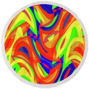 Abstract Waves Painting 007192 Round Beach Towel