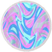 Abstract Waves Painting 007197 Round Beach Towel