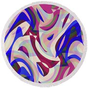 Abstract Waves Painting 007199 Round Beach Towel