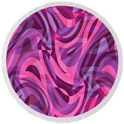 Abstract Waves Painting 007200 Round Beach Towel