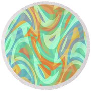 Abstract Waves Painting 007202 Round Beach Towel