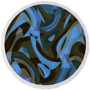 Abstract Waves Painting 007203 Round Beach Towel
