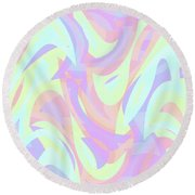 Abstract Waves Painting 007205 Round Beach Towel