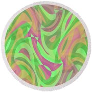 Abstract Waves Painting 007214 Round Beach Towel