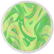 Abstract Waves Painting 007216 Round Beach Towel