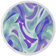 Abstract Waves Painting 007217 Round Beach Towel