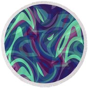 Abstract Waves Painting 007219 Round Beach Towel