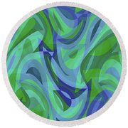 Abstract Waves Painting 007221 Round Beach Towel