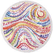 Abstraction In Winter Colors Round Beach Towel
