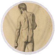 Academic Nude, Seen From The Back Round Beach Towel