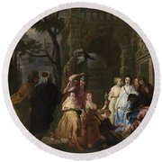 Achilles And The Daughters Of Archimedes  Round Beach Towel